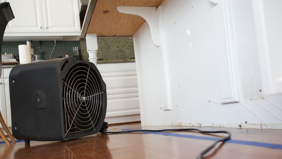 fan drying wall water damage to repair it