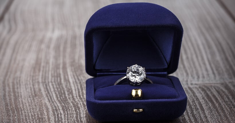 diamong engagement ring in box with jewelry insurance