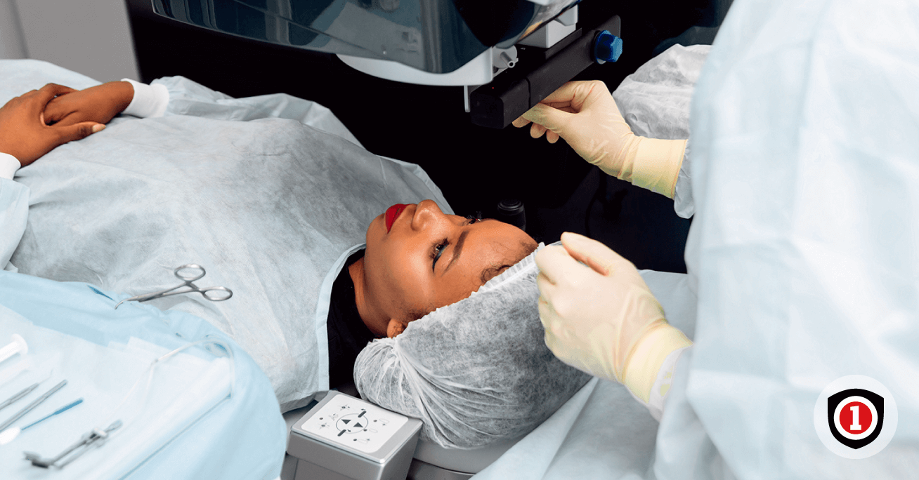 African american women getting an eye surgery