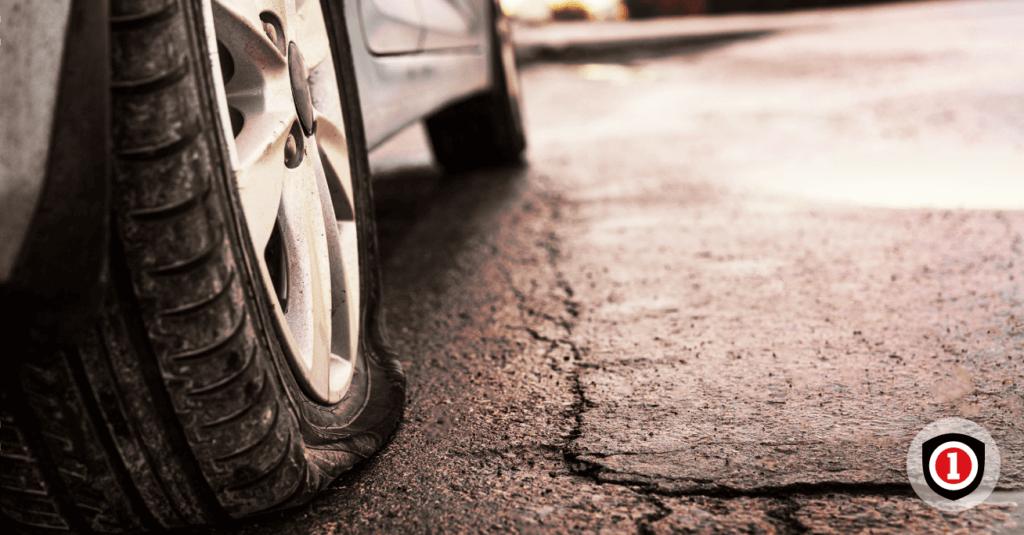 flat tire close up
