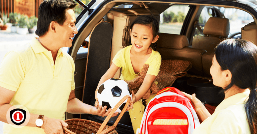 Asian family getting ready for a road trip while packing