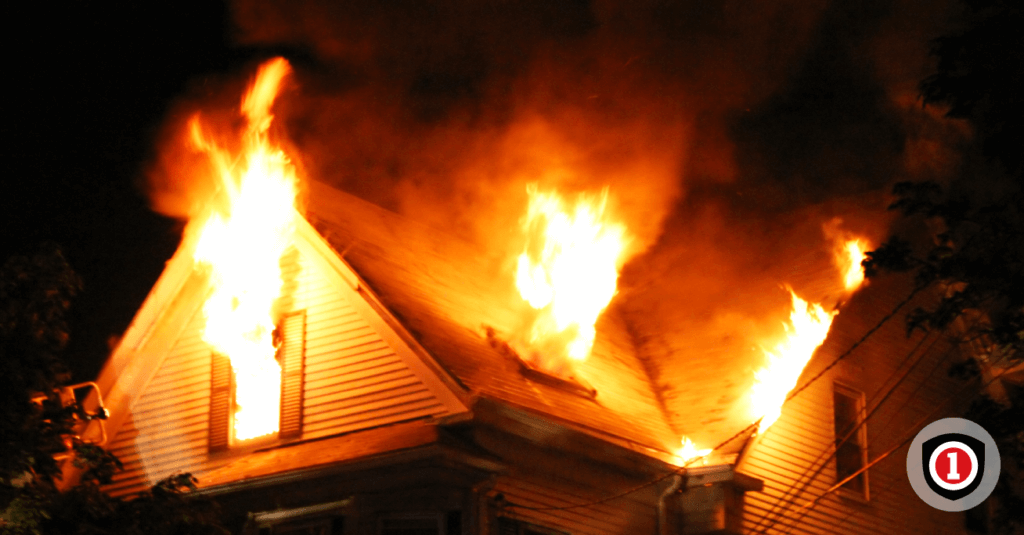 A house with home insurance coverage on fire