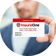 Man holding membership card to the camera with insureone logo and phone number